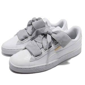 Puma Basket Sneakers White Striped Laces Sz 6.5